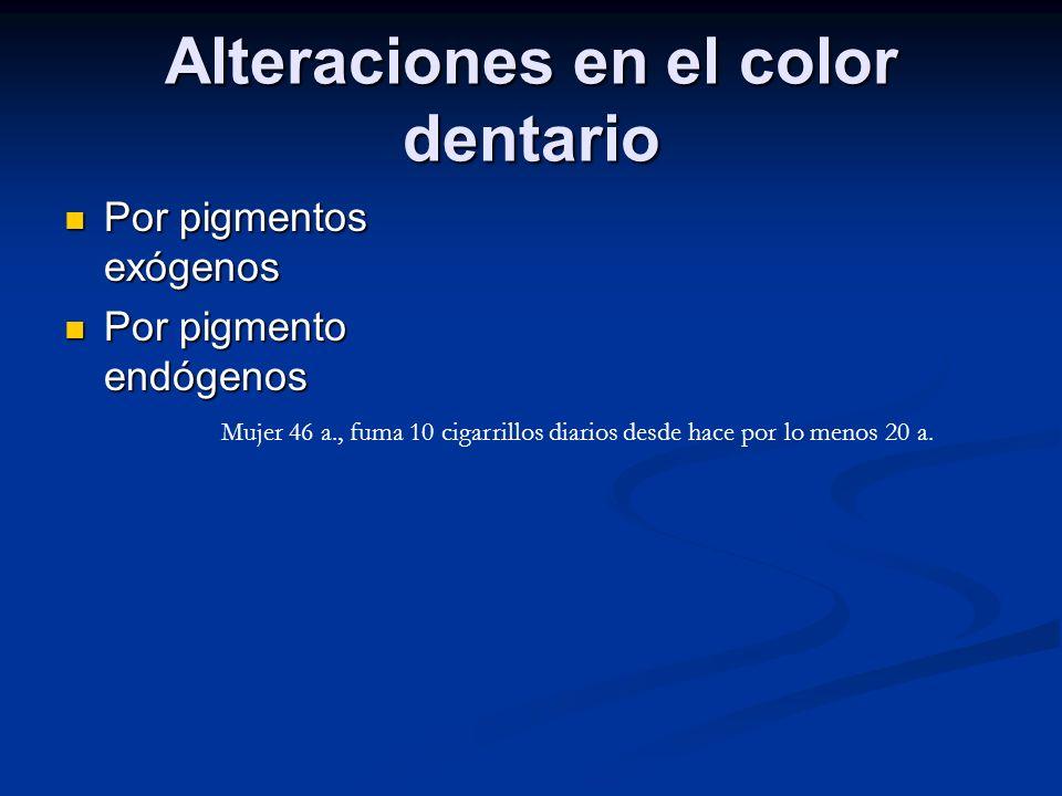 Alteraciones en el color dentario Por pigmentos exógenos Por pigmentos exógenos Por pigmento endógenos Por pigmento endógenos Mujer 46 a., fuma 10 cig