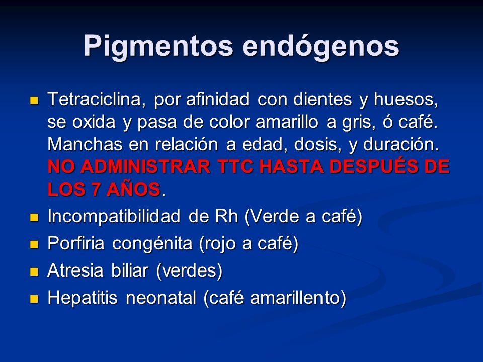 Pigmentos endógenos Tetraciclina, por afinidad con dientes y huesos, se oxida y pasa de color amarillo a gris, ó café. Manchas en relación a edad, dos