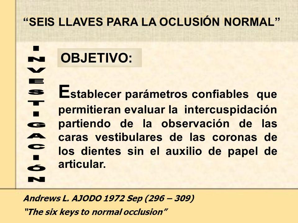SEIS LLAVES PARA LA OCLUSIÓN NORMAL E stablecer parámetros confiables que permitieran evaluar la intercuspidación partiendo de la observación de las caras vestibulares de las coronas de los dientes sin el auxilio de papel de articular.