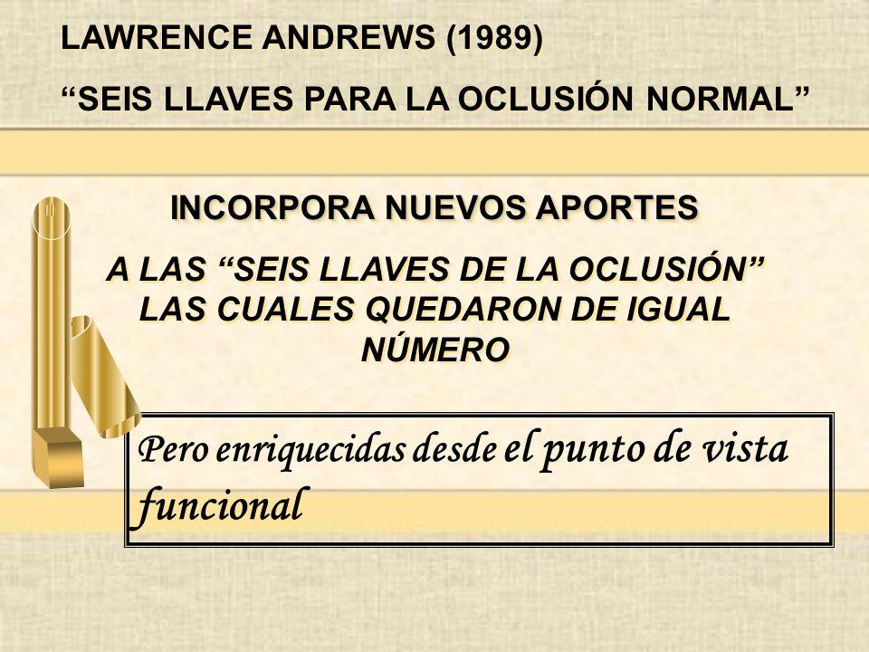 LAWRENCE ANDREWS (1989) SEIS LLAVES PARA LA OCLUSIÓN NORMAL LAWRENCE ANDREWS (1989) SEIS LLAVES PARA LA OCLUSIÓN NORMAL INCORPORA NUEVOS APORTES A LAS SEIS LLAVES DE LA OCLUSIÓN LAS CUALES QUEDARON DE IGUAL NÚMERO INCORPORA NUEVOS APORTES A LAS SEIS LLAVES DE LA OCLUSIÓN LAS CUALES QUEDARON DE IGUAL NÚMERO Pero enriquecidas desde el punto de vista funcional