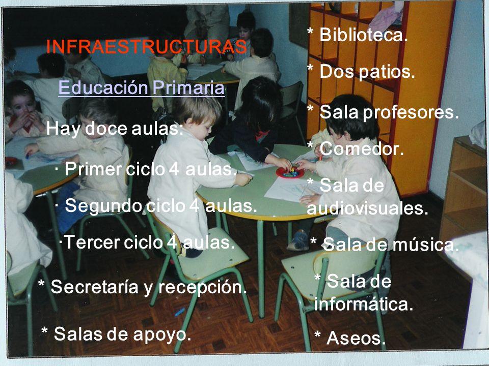 INFRAESTRUCTURAS Educación Infantil Hay seis aulas: · Dos aulas de 3 a 4.