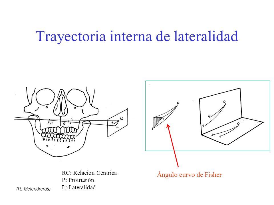 Trayectoria interna de lateralidad Ángulo curvo de Fisher RC: Relación Céntrica P: Protrusión L: Lateralidad (R. Melendreras)