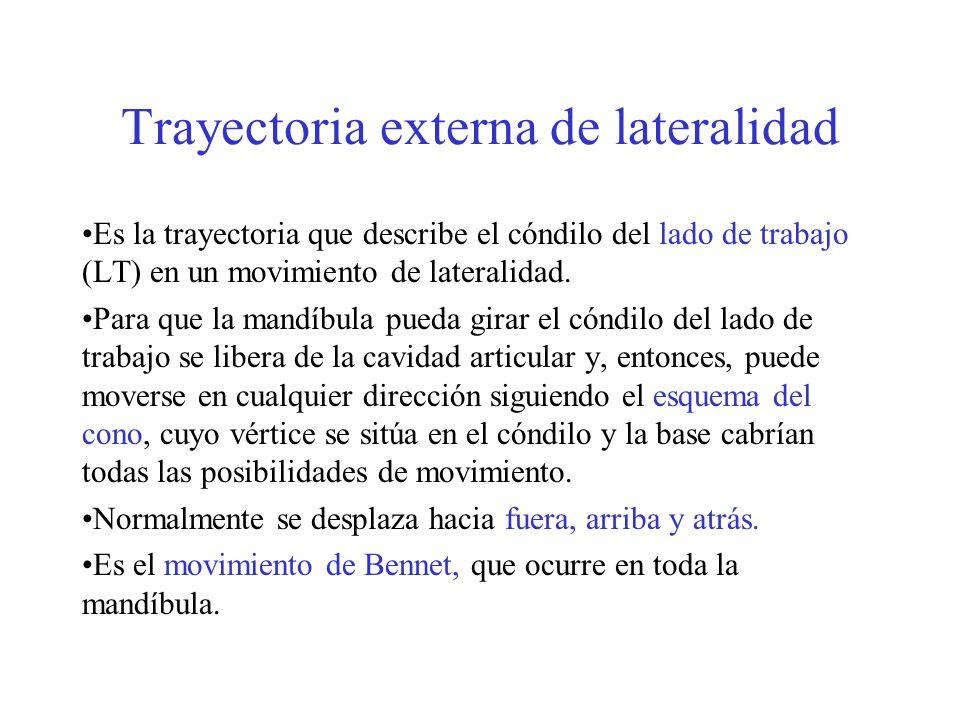Trayectoria externa de lateralidad Es la trayectoria que describe el cóndilo del lado de trabajo (LT) en un movimiento de lateralidad. Para que la man