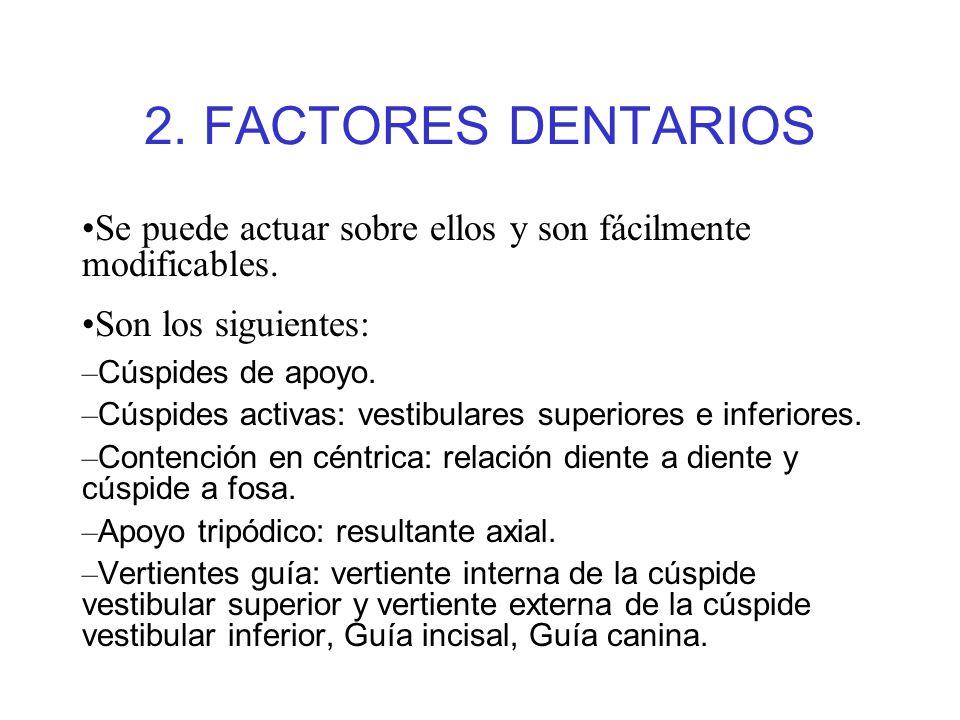 2. FACTORES DENTARIOS Se puede actuar sobre ellos y son fácilmente modificables. Son los siguientes: – Cúspides de apoyo. – Cúspides activas: vestibul