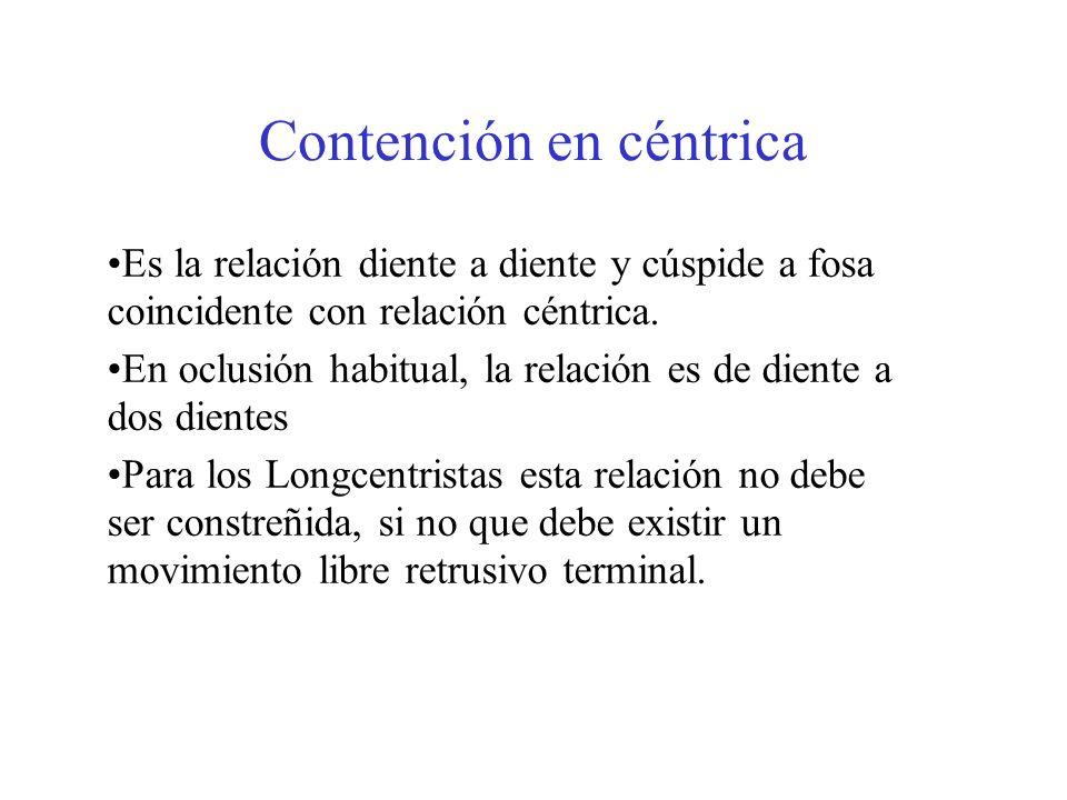 Contención en céntrica Es la relación diente a diente y cúspide a fosa coincidente con relación céntrica. En oclusión habitual, la relación es de dien