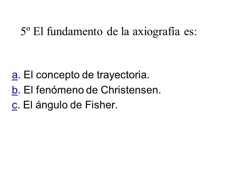 5º El fundamento de la axiografía es: aa. El concepto de trayectoria. bb. El fenómeno de Christensen. cc. El ángulo de Fisher.