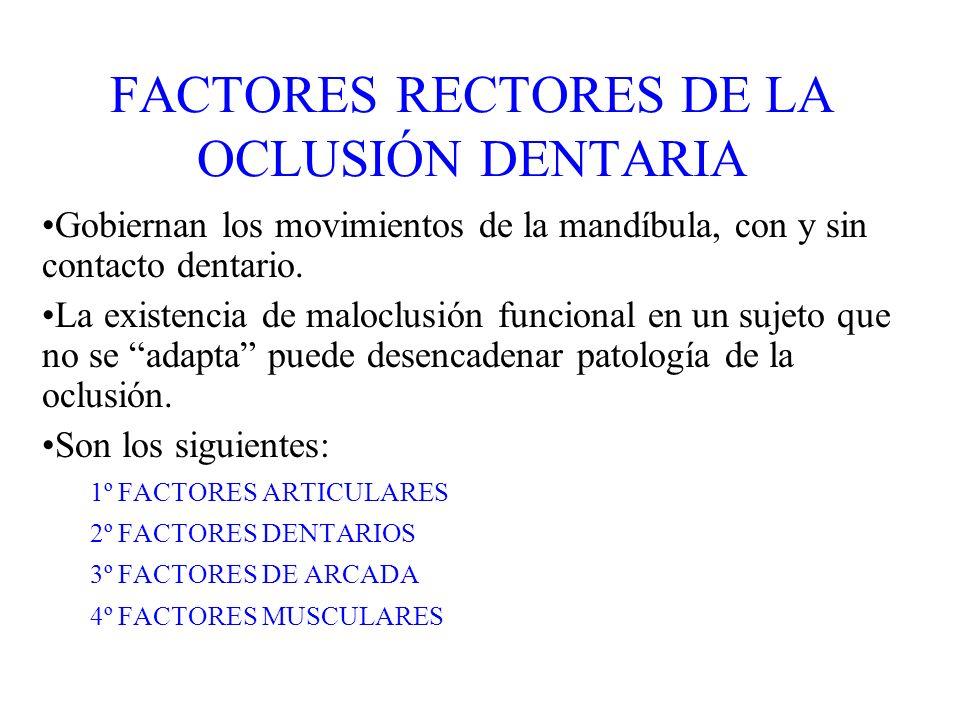 FACTORES RECTORES DE LA OCLUSIÓN DENTARIA Gobiernan los movimientos de la mandíbula, con y sin contacto dentario. La existencia de maloclusión funcion