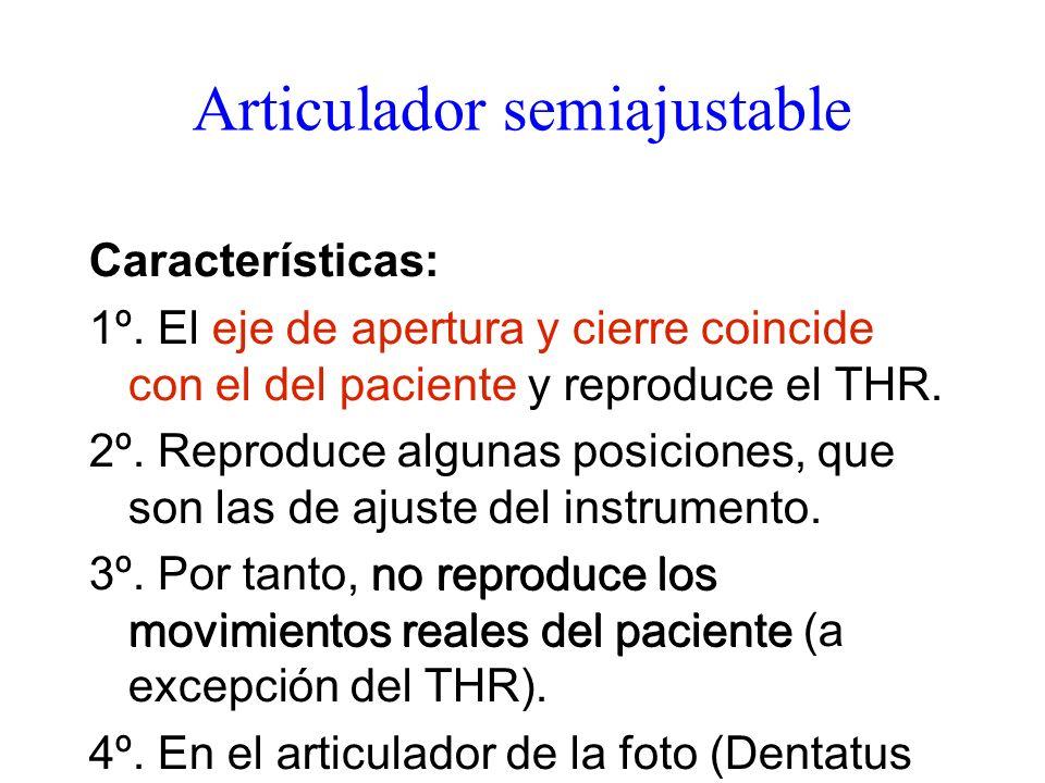 Articulador semiajustable Características: 1º. El eje de apertura y cierre coincide con el del paciente y reproduce el THR. 2º. Reproduce algunas posi