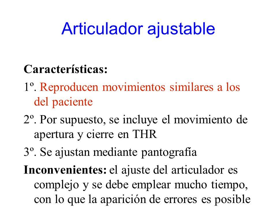 Articulador ajustable Características: 1º. Reproducen movimientos similares a los del paciente 2º. Por supuesto, se incluye el movimiento de apertura