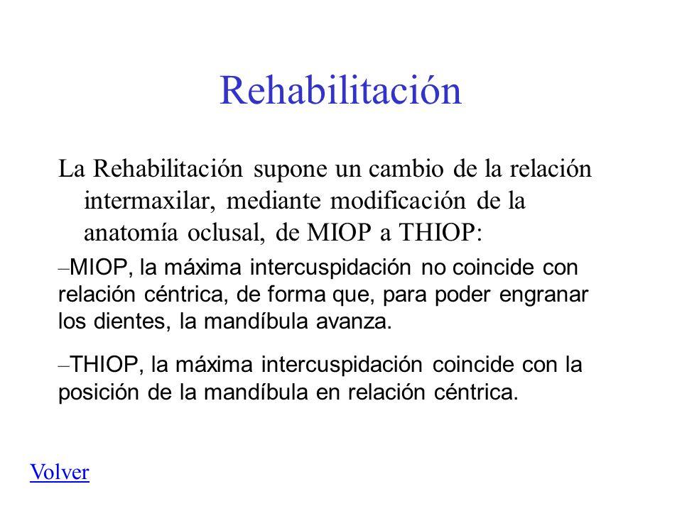 Rehabilitación La Rehabilitación supone un cambio de la relación intermaxilar, mediante modificación de la anatomía oclusal, de MIOP a THIOP: – MIOP,