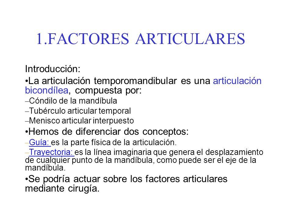 1.FACTORES ARTICULARES Introducción: La articulación temporomandibular es una articulación bicondílea, compuesta por: – Cóndilo de la mandíbula – Tubé