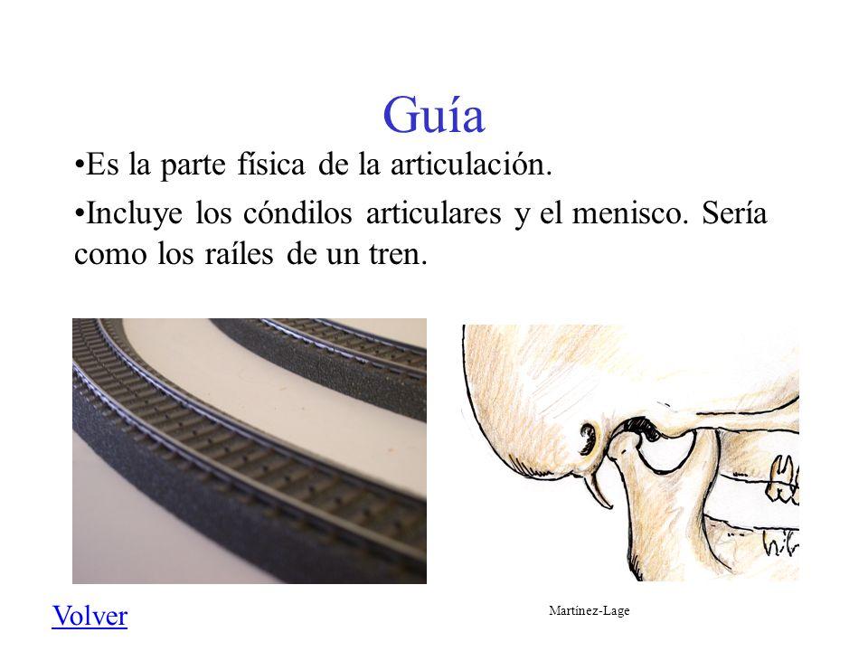Guía Es la parte física de la articulación. Incluye los cóndilos articulares y el menisco. Sería como los raíles de un tren. Volver Martínez-Lage