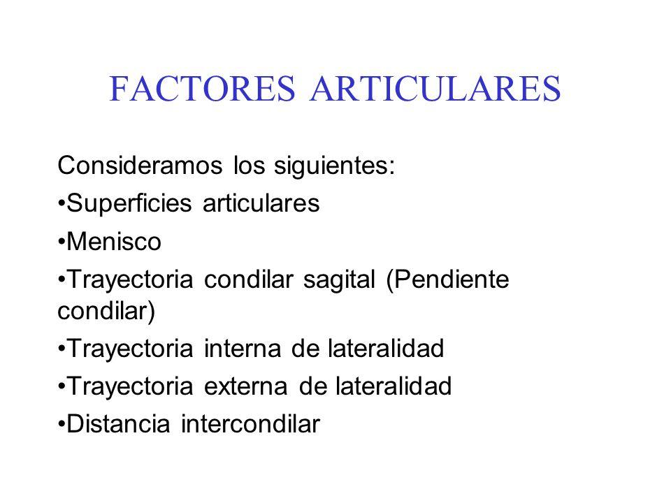 FACTORES ARTICULARES Consideramos los siguientes: Superficies articulares Menisco Trayectoria condilar sagital (Pendiente condilar) Trayectoria intern