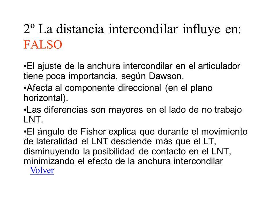 2º La distancia intercondilar influye en: FALSO El ajuste de la anchura intercondilar en el articulador tiene poca importancia, según Dawson. Afecta a