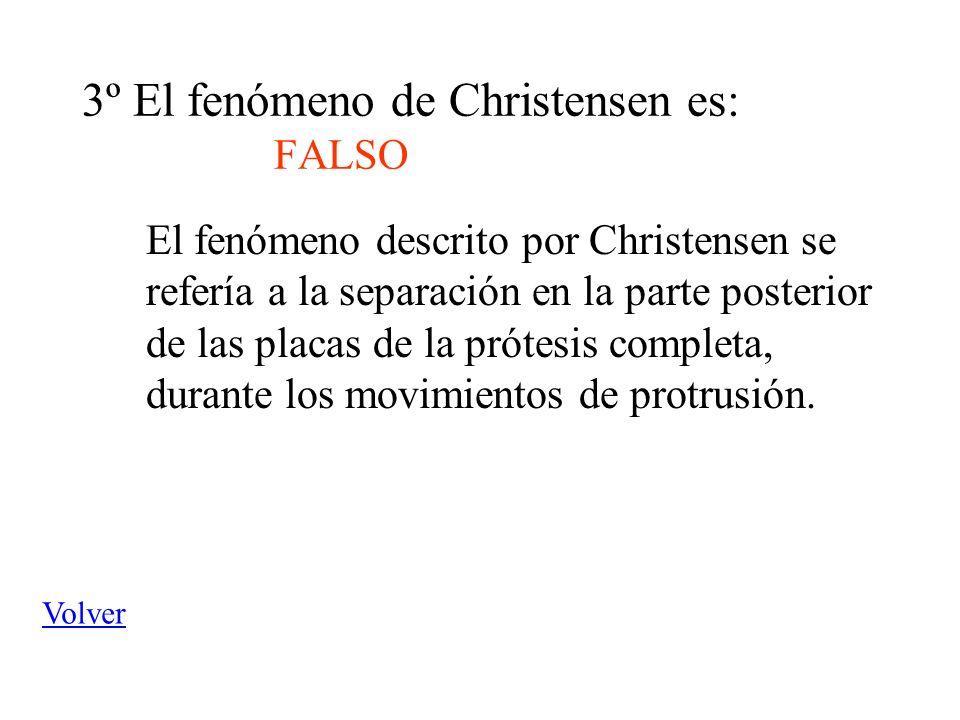 3º El fenómeno de Christensen es: FALSO El fenómeno descrito por Christensen se refería a la separación en la parte posterior de las placas de la prót