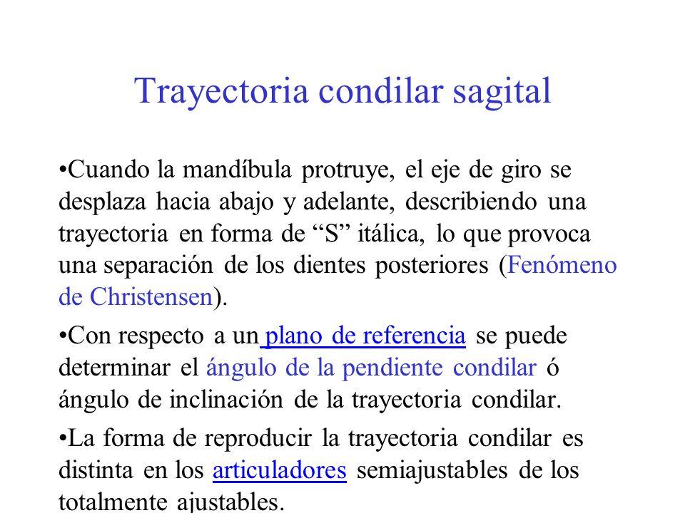 Trayectoria condilar sagital Cuando la mandíbula protruye, el eje de giro se desplaza hacia abajo y adelante, describiendo una trayectoria en forma de