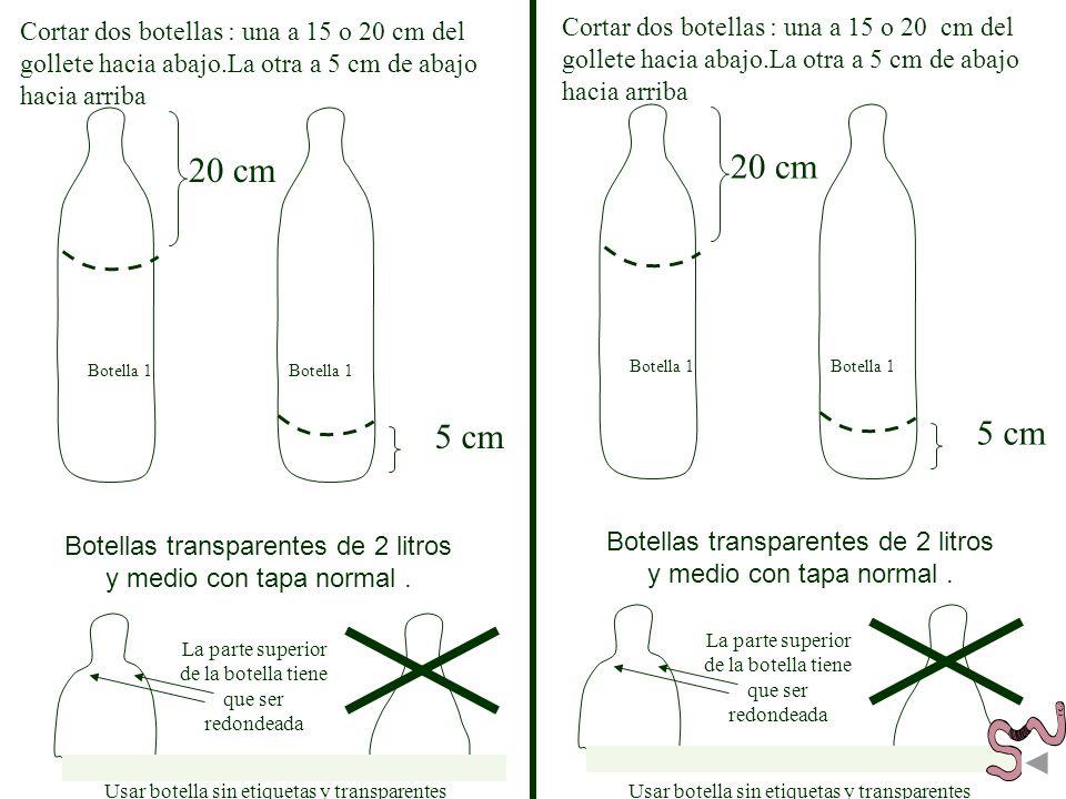 Cortar dos botellas : una a 15 o 20 cm del gollete hacia abajo.La otra a 5 cm de abajo hacia arriba 20 cm Botella 1 5 cm Botella 1 Botellas transparen