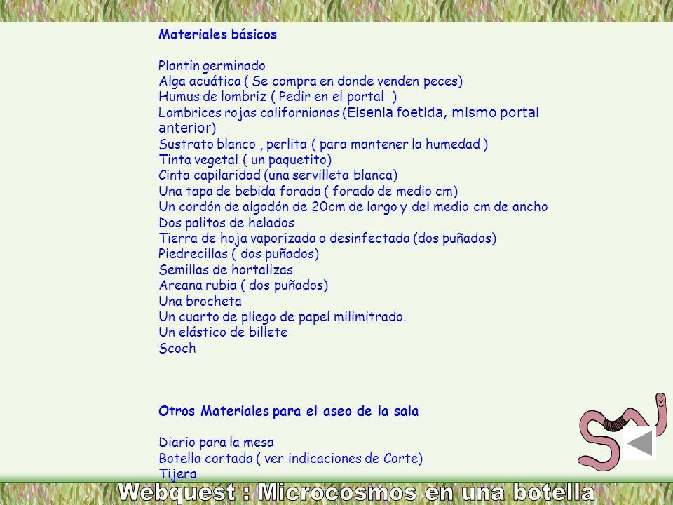 Materiales básicos Plantín germinado Alga acuática ( Se compra en donde venden peces) Humus de lombriz ( Pedir en el portal ) Lombrices rojas californ