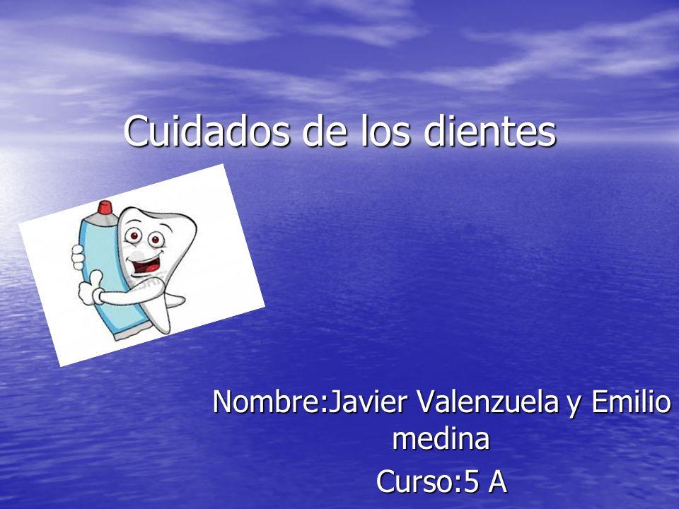Cuidados de los dientes Nombre:Javier Valenzuela y Emilio medina Curso:5 A
