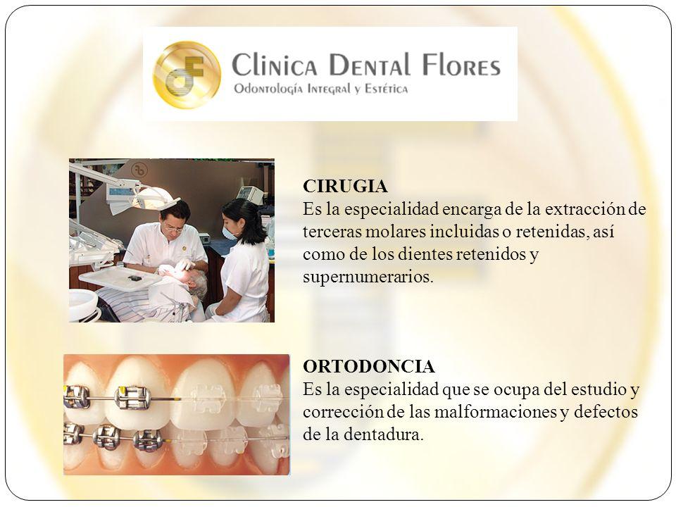 CIRUGIA Es la especialidad encarga de la extracción de terceras molares incluidas o retenidas, así como de los dientes retenidos y supernumerarios. OR