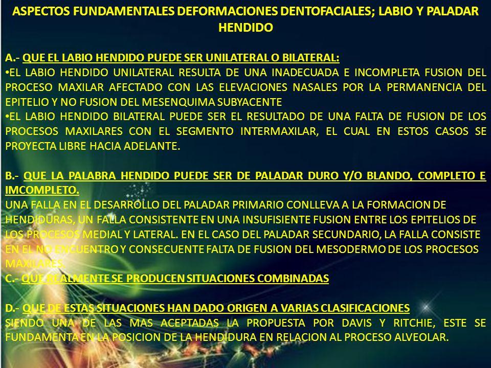 ASPECTOS FUNDAMENTALES DEFORMACIONES DENTOFACIALES; LABIO Y PALADAR HENDIDO A.- QUE EL LABIO HENDIDO PUEDE SER UNILATERAL O BILATERAL: EL LABIO HENDID