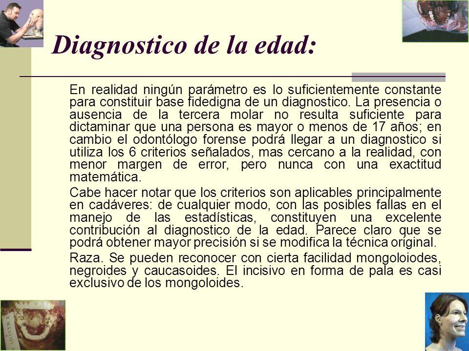 Diagnostico de la edad: En realidad ningún parámetro es lo suficientemente constante para constituir base fidedigna de un diagnostico.