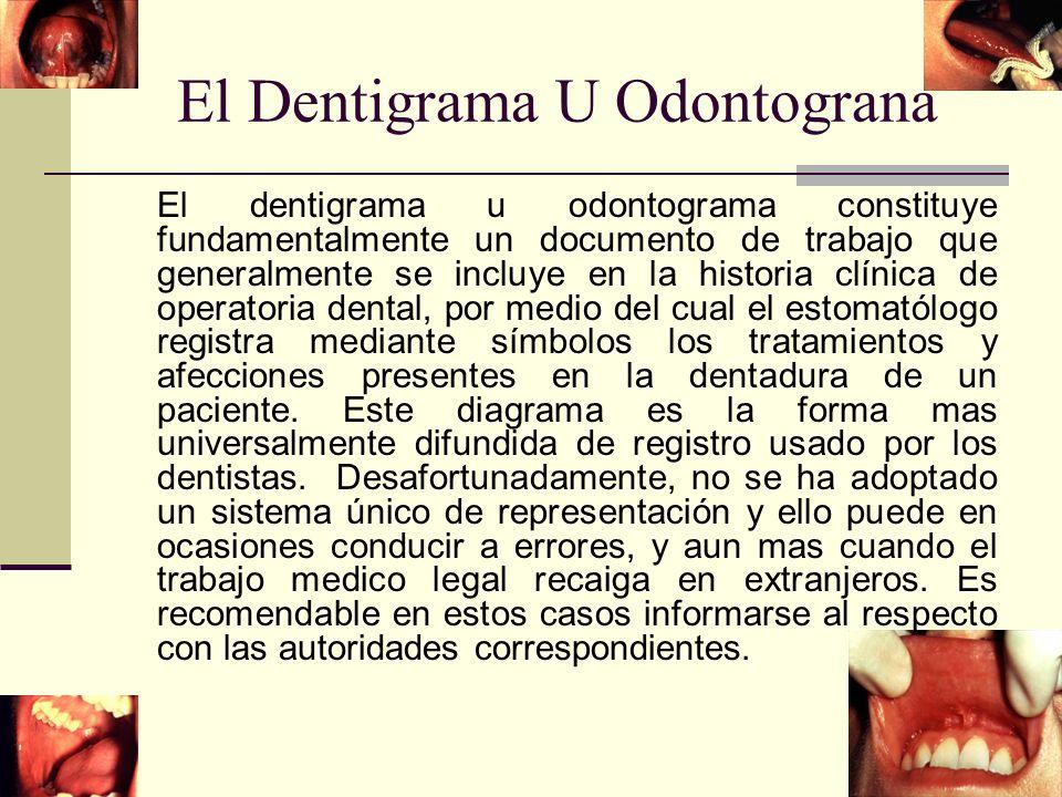 El Dentigrama U Odontograna El dentigrama u odontograma constituye fundamentalmente un documento de trabajo que generalmente se incluye en la historia clínica de operatoria dental, por medio del cual el estomatólogo registra mediante símbolos los tratamientos y afecciones presentes en la dentadura de un paciente.
