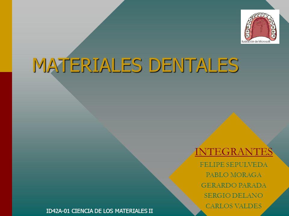 ID42A-01 CIENCIA DE LOS MATERIALES II MATERIALES DENTALES INTEGRANTES FELIPE SEPULVEDA PABLO MORAGA GERARDO PARADA SERGIO DELANO CARLOS VALDES