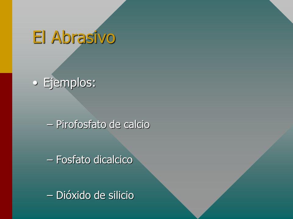 El Abrasivo Ejemplos:Ejemplos: –Pirofosfato de calcio –Fosfato dicalcico –Dióxido de silicio