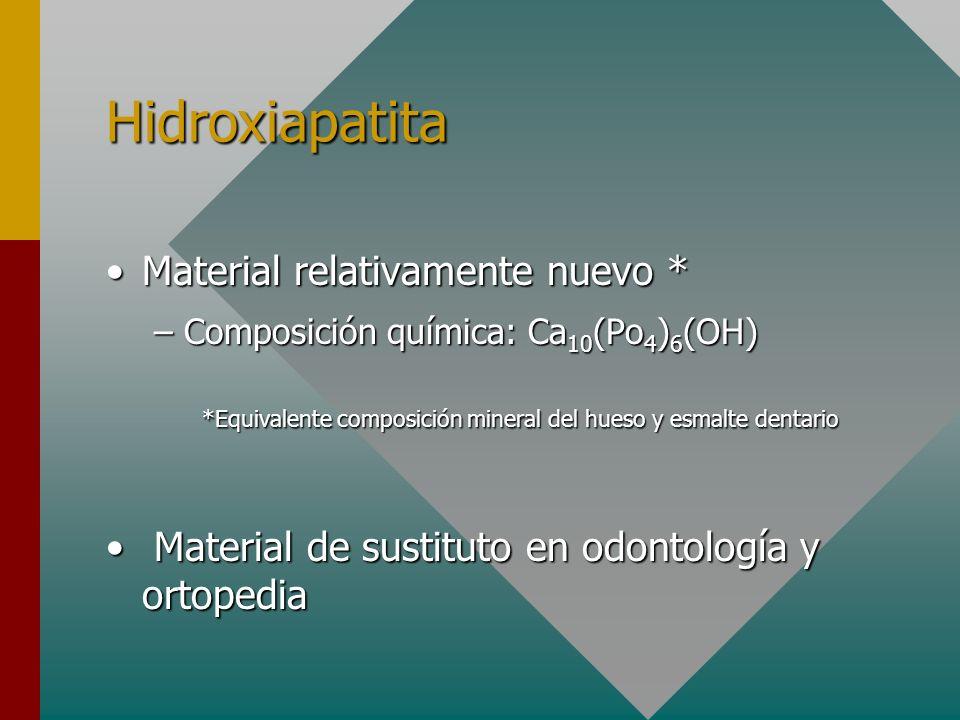 Hidroxiapatita Material relativamente nuevo *Material relativamente nuevo * –Composición química: Ca 10 (Po 4 ) 6 (OH) *Equivalente composición minera