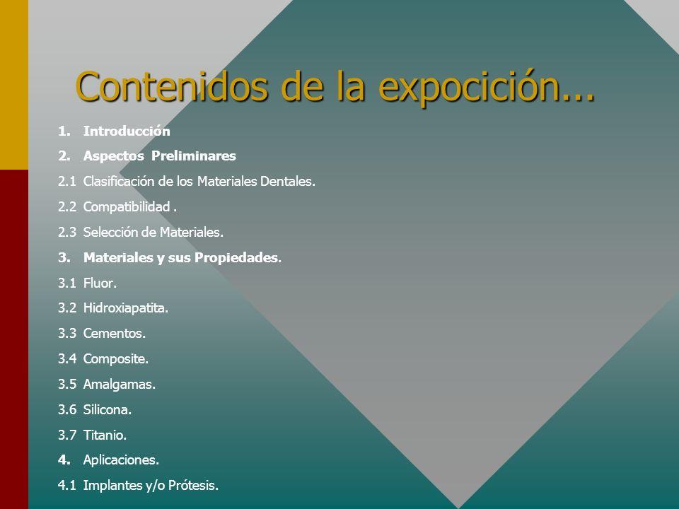 Contenidos de la expocición... 1.Introducción 2.Aspectos Preliminares 2.1Clasificación de los Materiales Dentales. 2.2Compatibilidad. 2.3Selección de