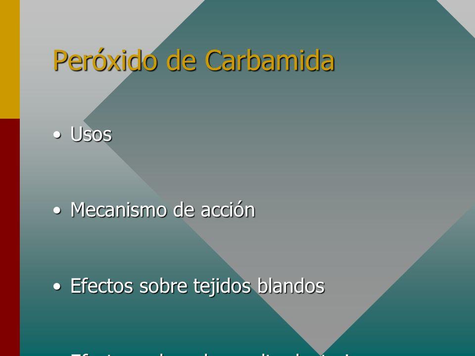 Peróxido de Carbamida UsosUsos Mecanismo de acciónMecanismo de acción Efectos sobre tejidos blandosEfectos sobre tejidos blandos Efectos sobre el esma