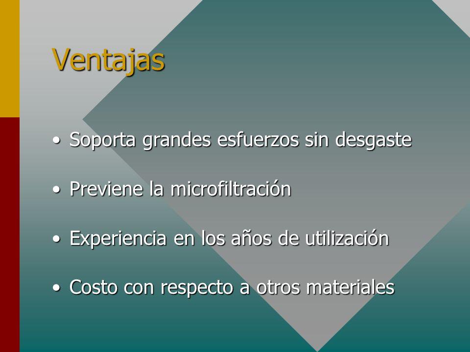 Ventajas Soporta grandes esfuerzos sin desgasteSoporta grandes esfuerzos sin desgaste Previene la microfiltraciónPreviene la microfiltración Experienc