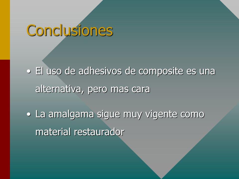 Conclusiones El uso de adhesivos de composite es una alternativa, pero mas caraEl uso de adhesivos de composite es una alternativa, pero mas cara La a