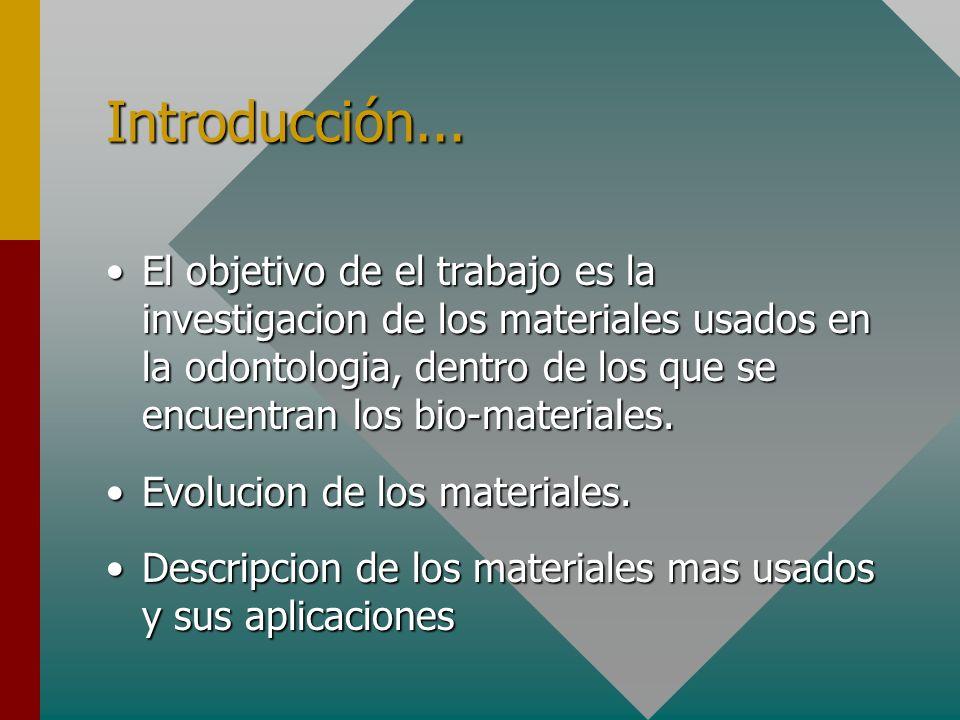 Introducción... El objetivo de el trabajo es la investigacion de los materiales usados en la odontologia, dentro de los que se encuentran los bio-mate