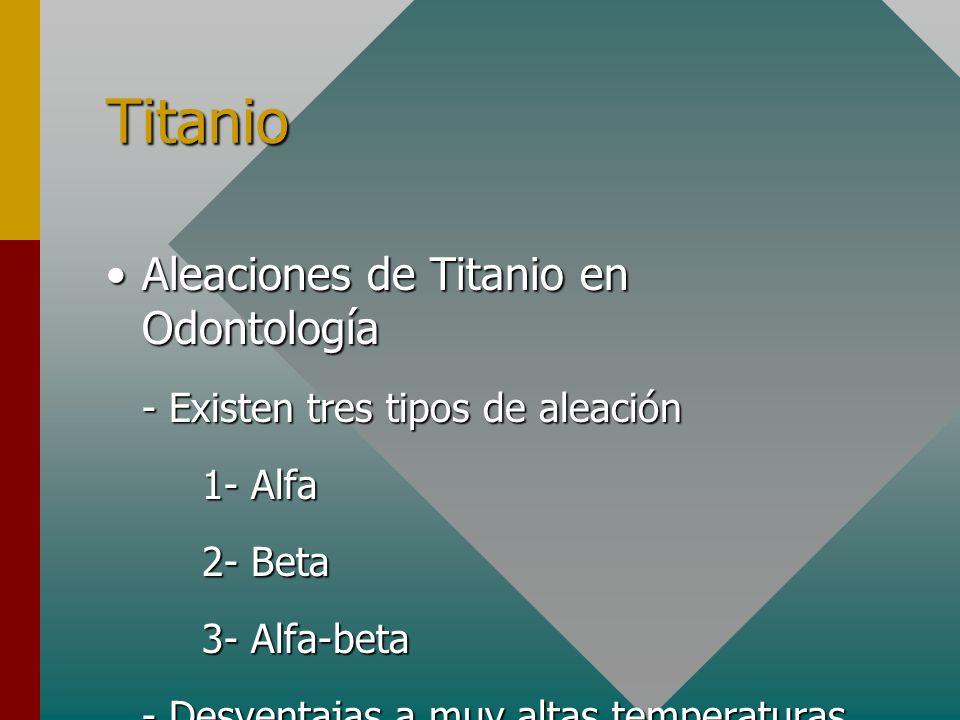 Titanio Aleaciones de Titanio en OdontologíaAleaciones de Titanio en Odontología - Existen tres tipos de aleación 1- Alfa 2- Beta 3- Alfa-beta - Desve