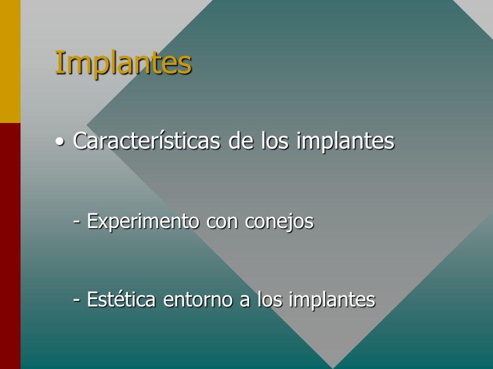 Implantes Características de los implantesCaracterísticas de los implantes - Experimento con conejos - Experimento con conejos - Estética entorno a lo