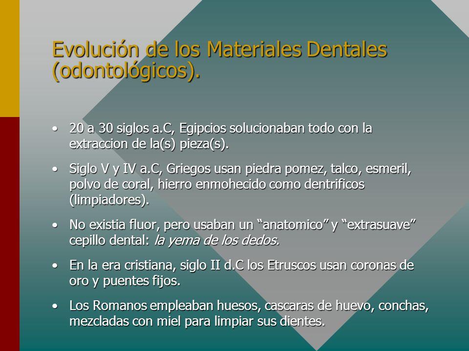 Evolución de los Materiales Dentales (odontológicos). 20 a 30 siglos a.C, Egipcios solucionaban todo con la extraccion de la(s) pieza(s).20 a 30 siglo