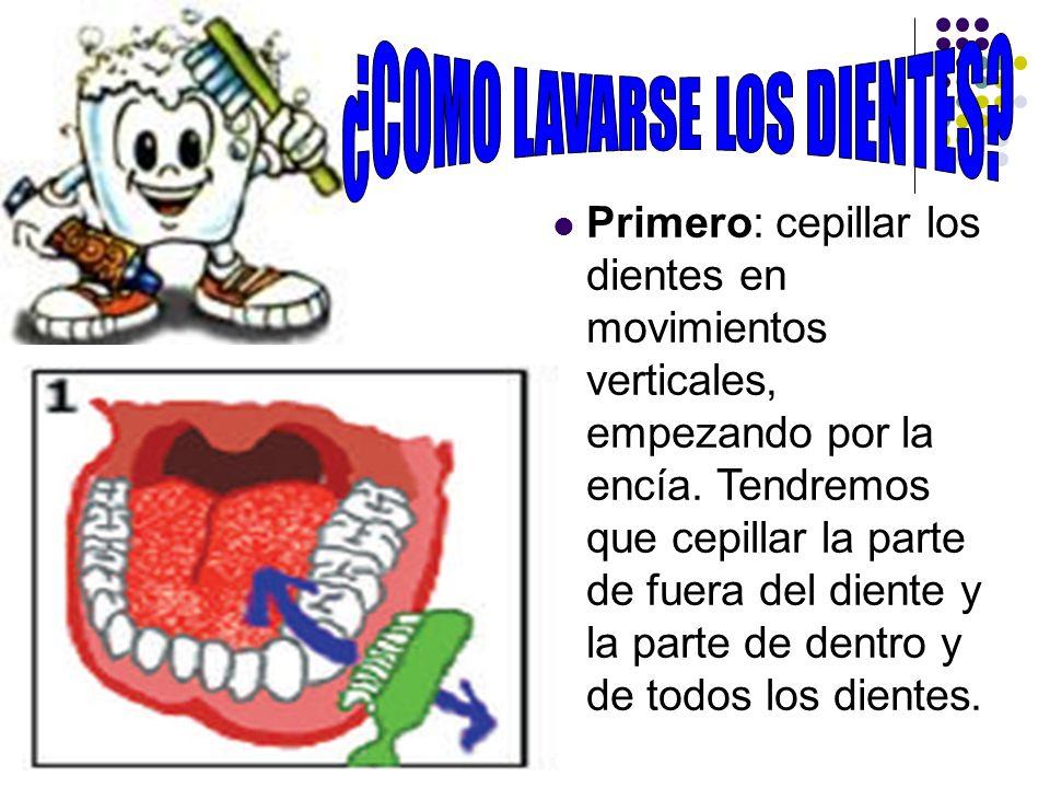 Primero: cepillar los dientes en movimientos verticales, empezando por la encía. Tendremos que cepillar la parte de fuera del diente y la parte de den