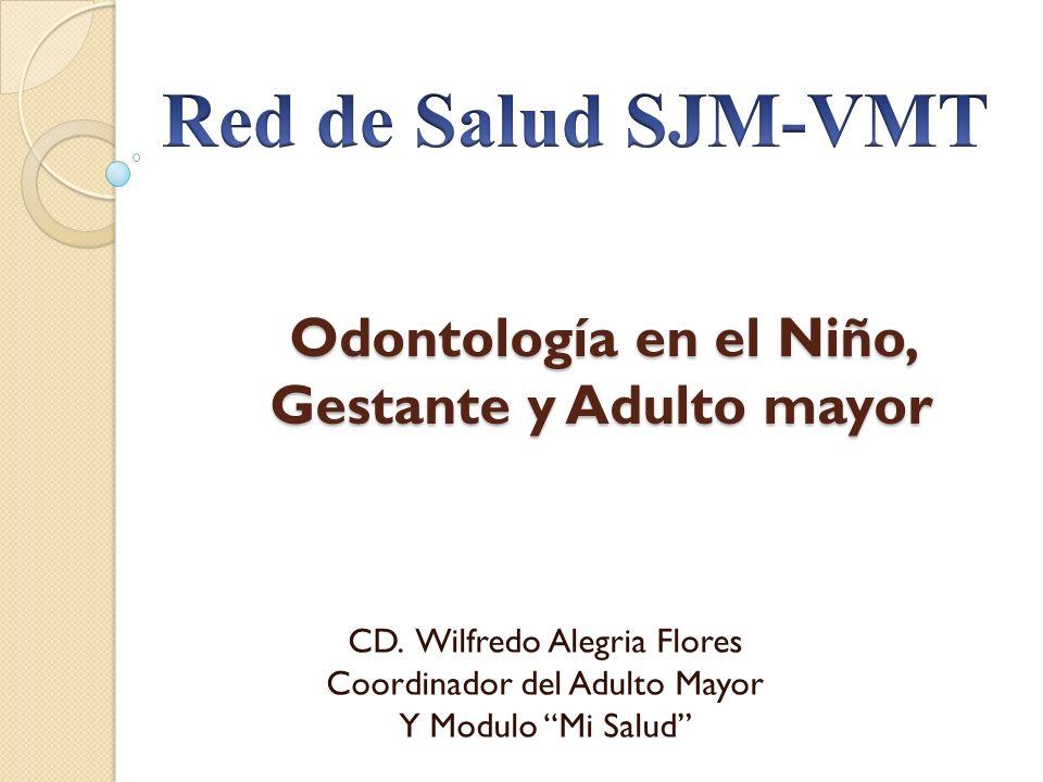 Odontología en el Niño, Gestante y Adulto mayor CD. Wilfredo Alegria Flores Coordinador del Adulto Mayor Y Modulo Mi Salud