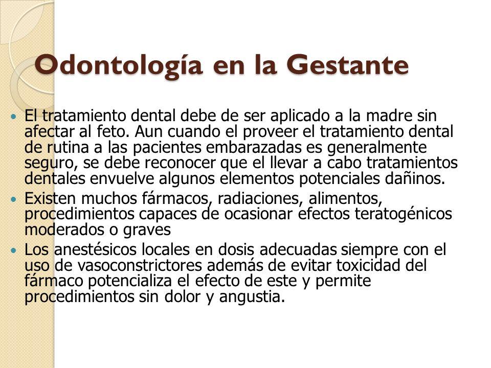 Odontología en la Gestante El tratamiento dental debe de ser aplicado a la madre sin afectar al feto. Aun cuando el proveer el tratamiento dental de r