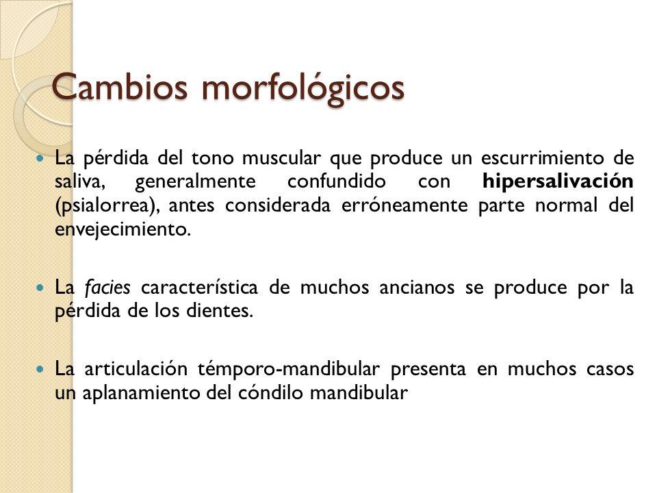 Cambios morfológicos La pérdida del tono muscular que produce un escurrimiento de saliva, generalmente confundido con hipersalivación (psialorrea), an