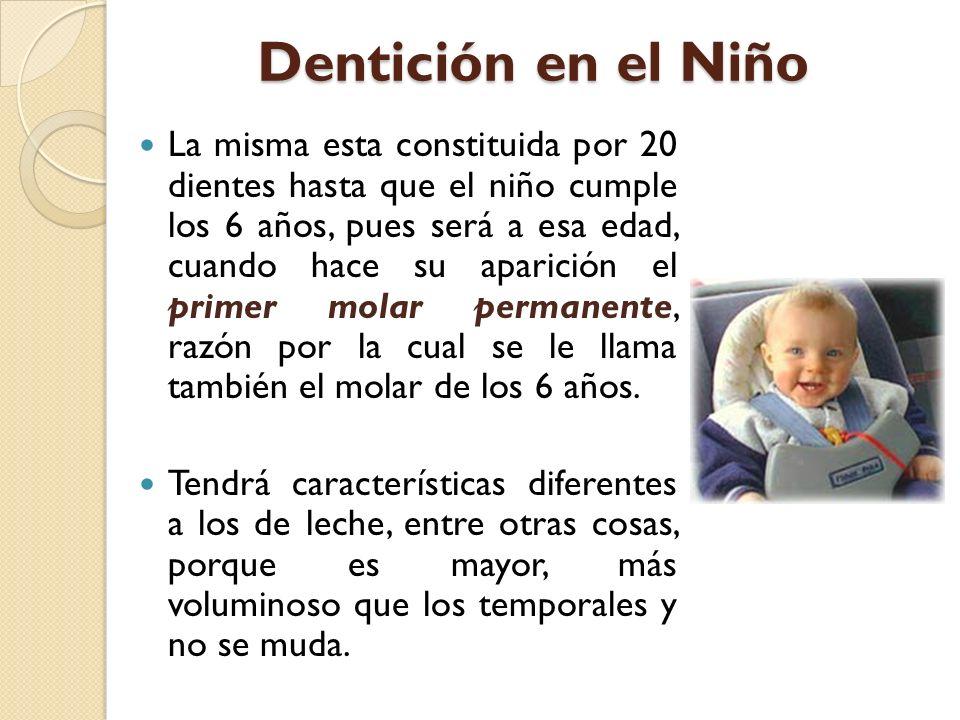 Dentición en el Niño La misma esta constituida por 20 dientes hasta que el niño cumple los 6 años, pues será a esa edad, cuando hace su aparición el p