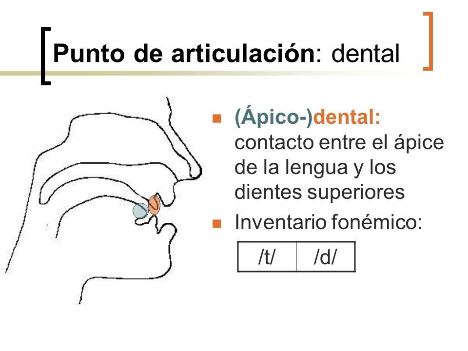 Punto de articulación: dental (Ápico-)dental: contacto entre el ápice de la lengua y los dientes superiores Inventario fonémico: /t//d/