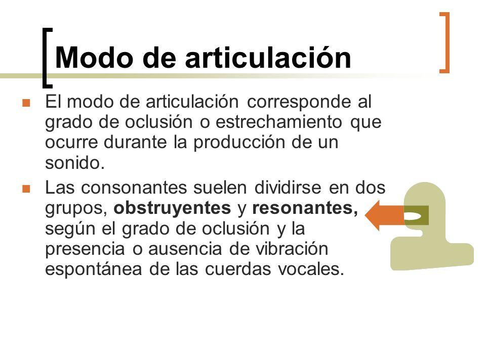 Modo de articulación El modo de articulación corresponde al grado de oclusión o estrechamiento que ocurre durante la producción de un sonido. Las cons