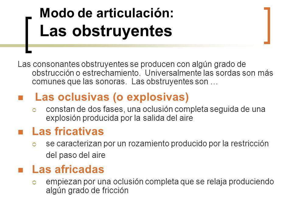 Modo de articulación: Las obstruyentes Las consonantes obstruyentes se producen con algún grado de obstrucción o estrechamiento. Universalmente las so