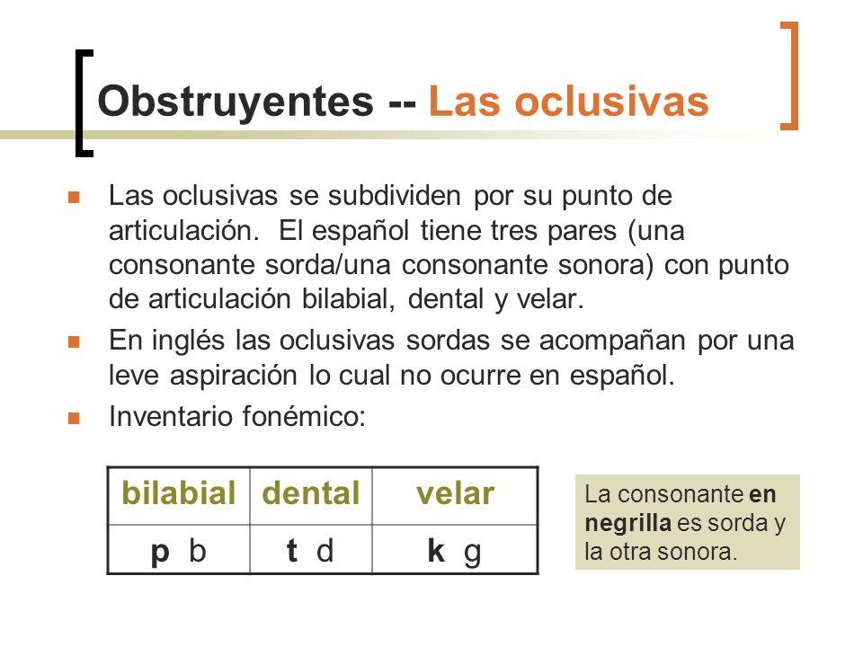 Obstruyentes -- Las oclusivas Las oclusivas se subdividen por su punto de articulación. El español tiene tres pares (una consonante sorda/una consonan