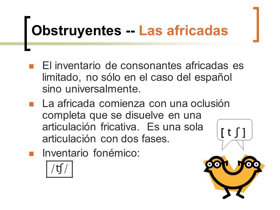 Obstruyentes -- Las africadas El inventario de consonantes africadas es limitado, no sólo en el caso del español sino universalmente. La africada comi