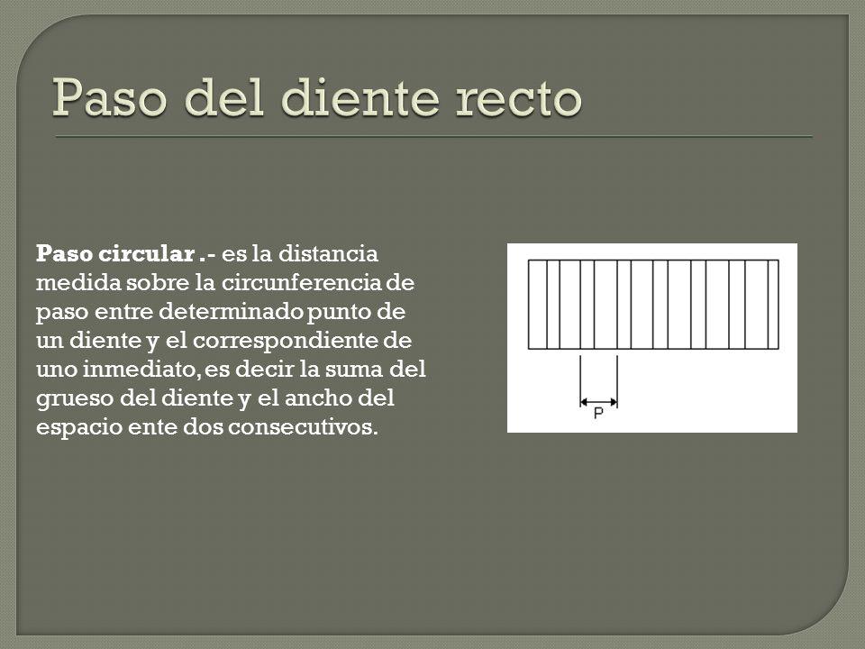 Paso circular.- es la distancia medida sobre la circunferencia de paso entre determinado punto de un diente y el correspondiente de uno inmediato, es