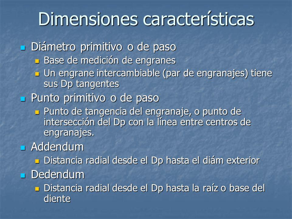 Dimensiones características Diámetro primitivo o de paso Diámetro primitivo o de paso Base de medición de engranes Base de medición de engranes Un eng